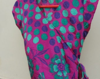 Asian Inspired Sari Silk Women's Summer Shirt - Magenta Polka Dot - Meredith F624