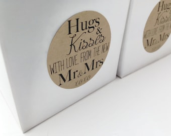 24 Hugs and kisses from the new Mr & Mrs, Wedding favour stickers, Wedding favour labels, kraft stickers, kraft wedding stickers, 013