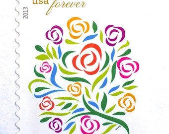 10 Botanical Bouquet Forever Postage Stamps // Flower Bouquet Floral Stamps For Mailing Wedding Invitations