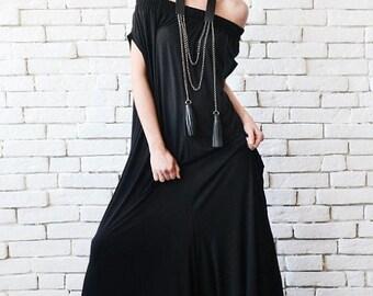 SALE NEW Black Maxi Jumpsuit/Extravagant Wide Leg Romper/Plus Size Long Jumpsuit/Everyday Casual Jumpsuit/Black Loose One Piece/Oversize Rom