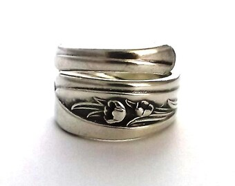 Spoon Ring Silver Tulip 1956 Size 6 7 8 9 10 11 12 Silverware Jewelry Spiral Wrapped Upcycled Repurposed Flatware Handle Teaspoon