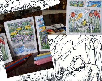 Pen and Ink Moments in the Garden - Digital Printable PDF - Card Making Craft - Perfect Classroom Activity Resource - Instant Download