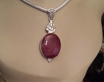 Sterling silver brown jasper pendant