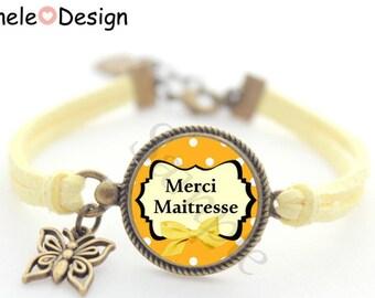Gift idea for teacher - yellow black dots bow pencil flowers Beads Bracelet