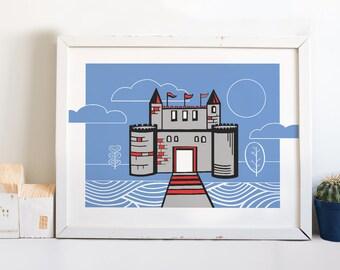 Castle Art Print / 8x10, 11x14 / Illustration, Drawing / Fairytale Art / Nursery Art, Children's Art, Kid's Room Decor, Wall Decor