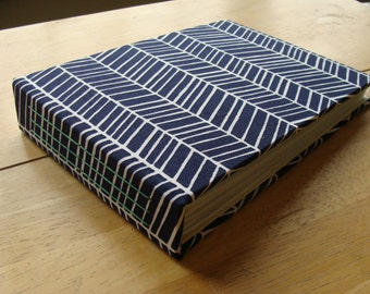 Photo Album in Modern Navy Herringbone