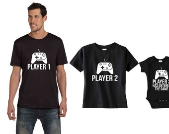 Son Dad Daughter matching shirts Player 1, 2, 3 Has Entered the Game Custom T Shirts Siblings tees, video game remote baby shower gift idea