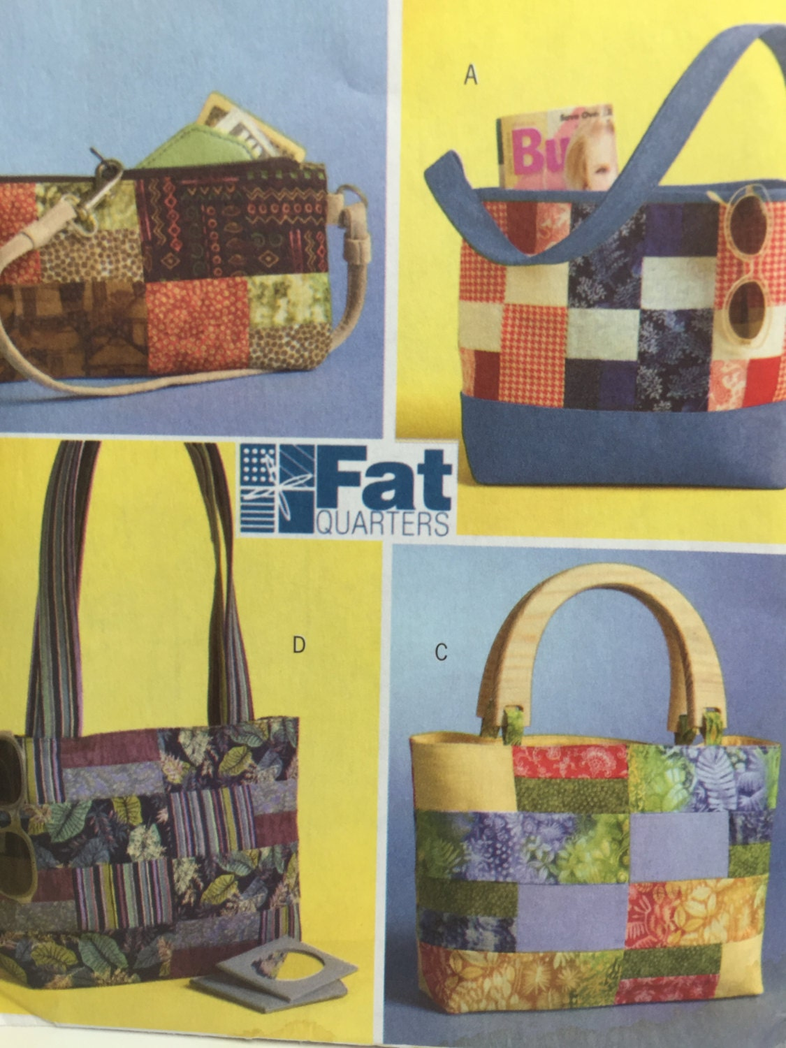 Butterick 4561 fat quarter handbags sewing pattern tote bag sold by sewaneedleinhaystack jeuxipadfo Gallery