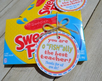 """You are o""""FISH""""ally the best teacher! Thank you tag for Swedish Fish, 1 pdf, 8.5x11 inches, pdf, 6 tags, digital download"""