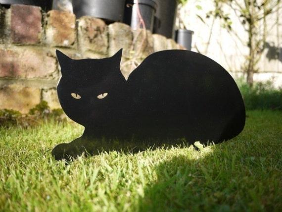 Cat Garden Yard Art, Sphinx Outdoor Ornament from Metal