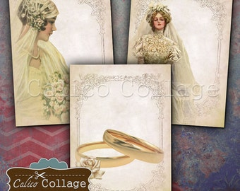Victorian Wedding Gift Tags - Collage Sheet - Wedding Graphics - Printable ATC - 2.5x3.5 Images - Wedding Printables - Greeting Cards