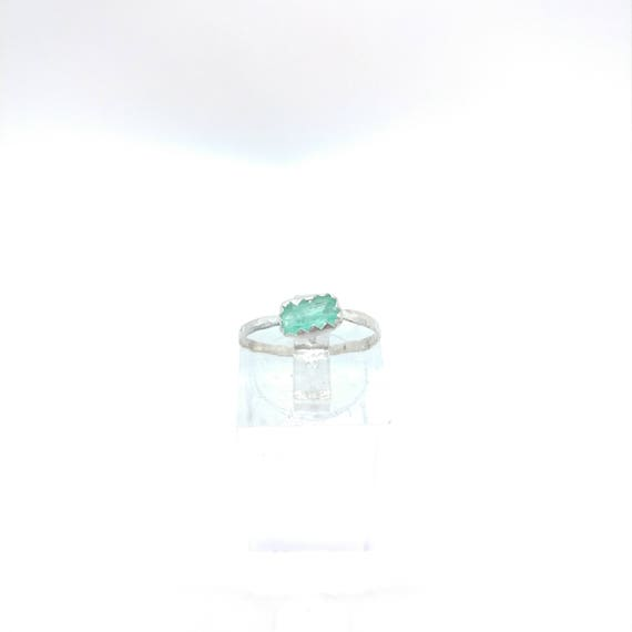 Raw Emerald Ring | Sterling Silver Ring sz 6 | Uncut Emerald Ring | Gift for Wife May Birthday | Green Beryl Jewelry | Raw Crystal Ring