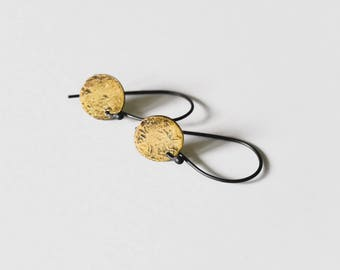 Sunrise Disk Earrings, Round Dangles, Fused Gold and Fine Silver Earrings, Hammered Round Earrings