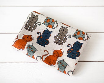 Linen tea towels with cats  - kitchen towels with orange grey cats - Cats towels - gift for pet lovers - Hostess Gift