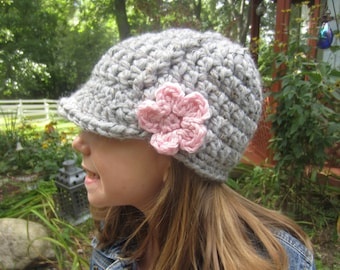 Girls Newsboy Hat - Kids Brimmed Hat - Chunky Crochet Knit Newsboy Hat - Grey Marble with Pink Flower