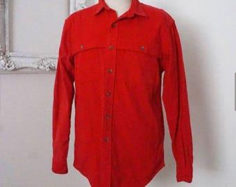 Vintage Polo Ralph Lauren Bright Red Flannel Shirt Men Sz M