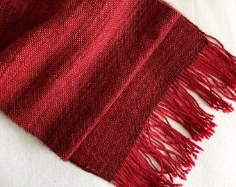 Handwoven Scarf - Bluefaced Leicester, Merino - Rosewood