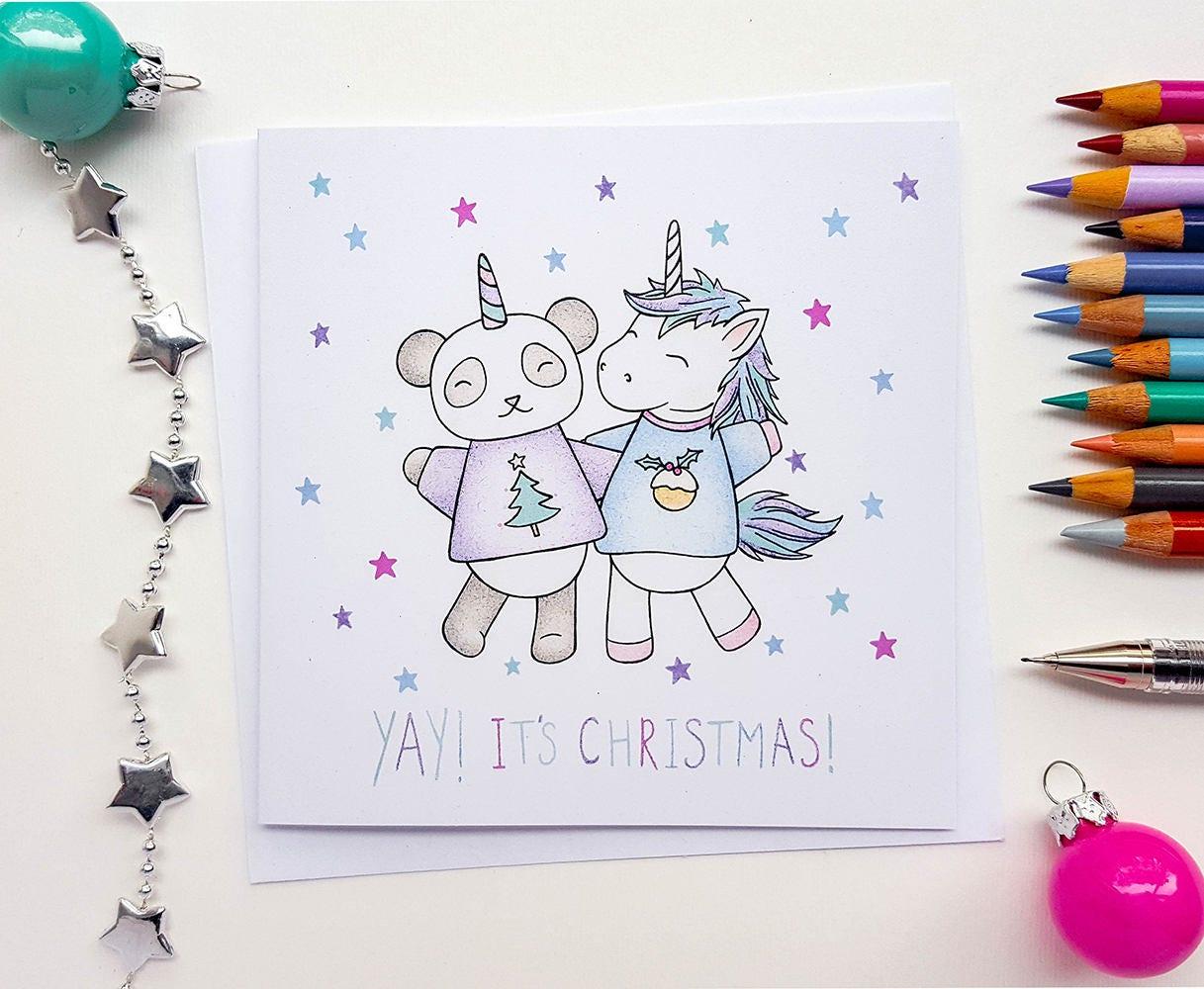 Einhorn weihnachtskarte handgezeichnete einhorn karten - Niedliche weihnachtskarten ...