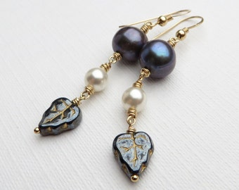 Pearls Leaves Monochrome Gold Earrings
