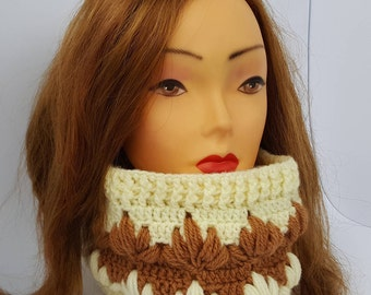 Scarf collar,scarf,knitted scarf,handmade,knitted scarf woman, light yellow and brown scarf,winter scarf,handmade scarf