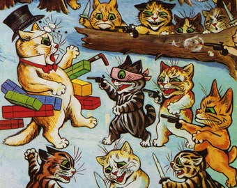 """Colourful  Louis Wain's Cats """"The Ambush""""  FREE UK DELIVERY"""