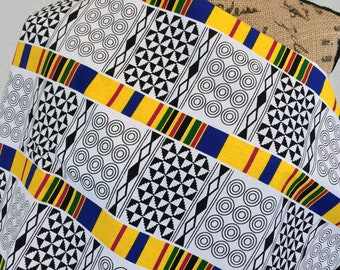 African Fabric--Kente Cloth--Kente Fabric--Kente Style Print Fabric--African Print--Black/White/Yellow/Blue--African Fabric by the HALF YARD
