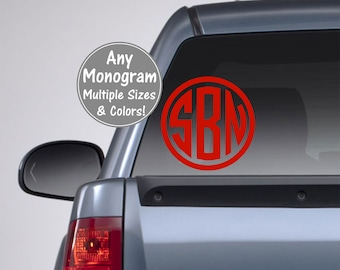 Monogram Car Decal, Circle Monogram Decal, Circle Monogram Sticker, Monogram Decal for Car Glitter Monogram Decal for Men, Truck Decal