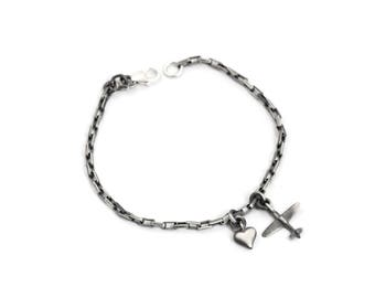 Heart and Airplane Charm Bracelet Unisex in Solid Sterling Silver Makes Great Airplane Gift for Couple