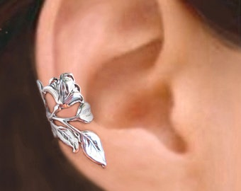 Gardenia flower ear cuff Sterling Silver earrings flower earrings Sterling silver ear cuff non pierced ear clip earcuff right C-084 CC