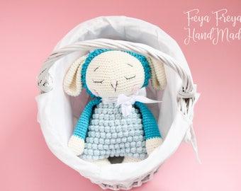 Hand made crochet sleeping sheep