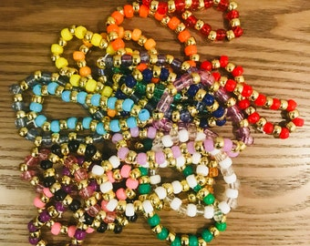 20 Kandi Bracelets with gold beads