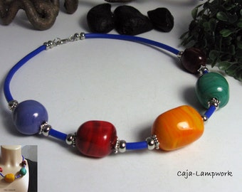 Short, colorful glass beads necklace