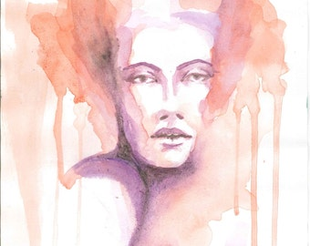 Colorful portrait of a woman, watercolor art print, runny paint.