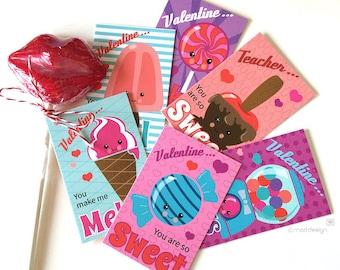 Valentine Cards / Classroom Valentine Cards / Kids Valentines / Valentines for kids / Candy Valentines / Sweets