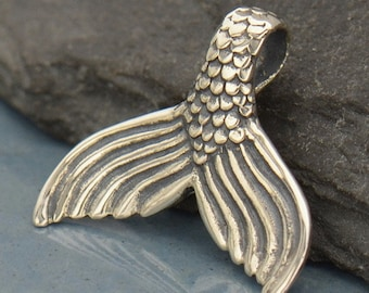 Mermaid Tail Necklace - Sterling Silver Aquatic Creature Charm Pendant - Insurance Included