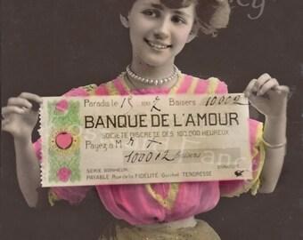 Vintage REAL PHOTO Postcard, Bank of Love, Kisses, Valentine, Instant DIGITAL Download, Banque de L'Amour