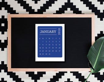 2018-2019 Printable Desk Calendar, Fun Modern Color Block 12 Month Calendar, Office Calendar, Wall Calendar - 2018 Instant Download Calendar