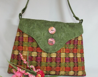 Quilted Cotton Shoulder Purse, Paisley Style Purple and Teal
