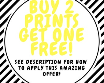 SPECIAL OFFER! Buy 2 prints get 1 free! Discount, Promotional Offer!