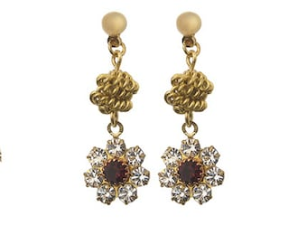 Earrings with Vintage Swarovski Flower