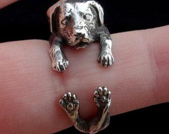 Labrador Retriever Ring, Sterling Silver Ring, Dog Ring, Animal Ring, Pet Ring, Labrador Jewelry, Labrador Ring, Adjustable Ring