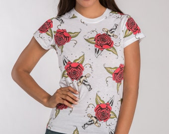 CLEARANCE!!! Sweet Vibes White With Rose T-Shirt