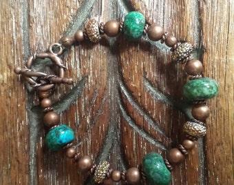 Green Azurite Druzy Style Bracelet