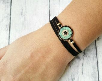 Evil eye bracelet, Micropave evil eye bracelet, Wrap bracelet, Crystal Bracelet, Suede bracelet, Turquoise, Pave evil eye, Gift for her