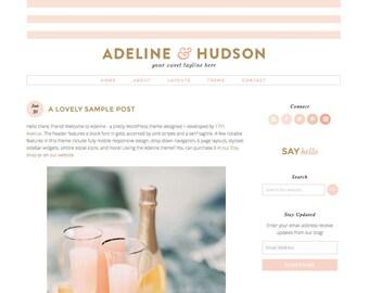 "Wordpress Theme Premade Blog Template Design - ""Adeline"" Instant Digital Download"