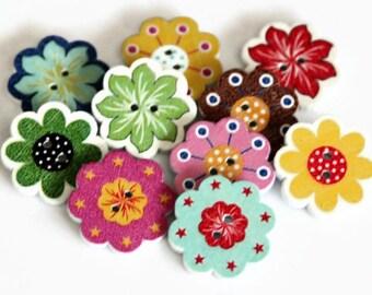 10 Wooden Flower Buttons - Wooden Buttons - 20mm - Flower Buttons - Printed Buttons - Mixed Print - Bright Button - Sewing Button - PW344