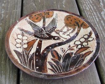 "1920-30s TOURISTWARE - RARE FIND - Lucano Petatillo Dish 6-3/4"" - Traditional Folk Mexican Pottery - Birds and Flowers - Tlaquepaque"