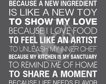 Reason Why I Cook, 11x14 Digital Print