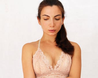 Beige Blush Lace Bralette. Triangle Skin Color Soft Wireless Bra top. Handmade Lingerie