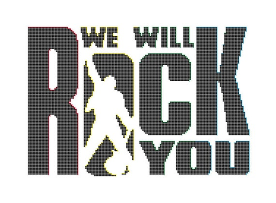 We Will Rock You Cross Stitch Pattern Queen Band Logo Rock